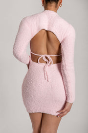 Lorin Popcorn Cut Out Back Long Sleeve Mini Dress - Baby Pink - MESHKI ?id=15939402367051