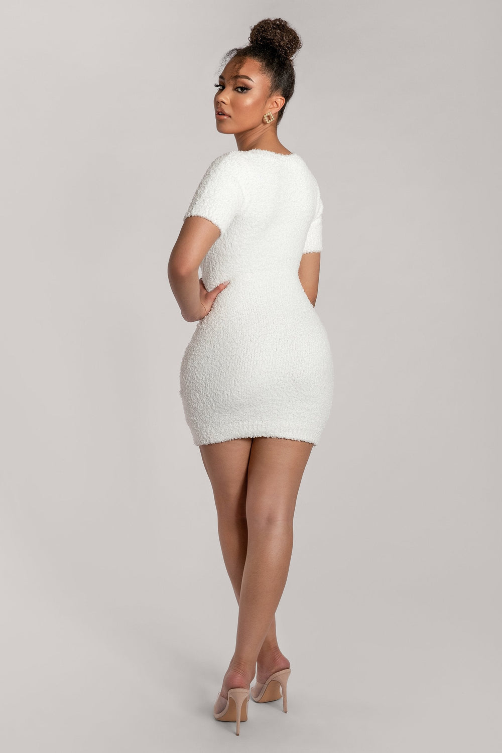 Maria Popcorn Short Sleeve Mini Dress - Cream - MESHKI ?id=15939405480011