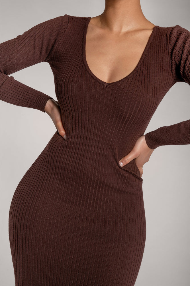 Nina Long Sleeve Ribbed Maxi Dress - Chocolate - MESHKI