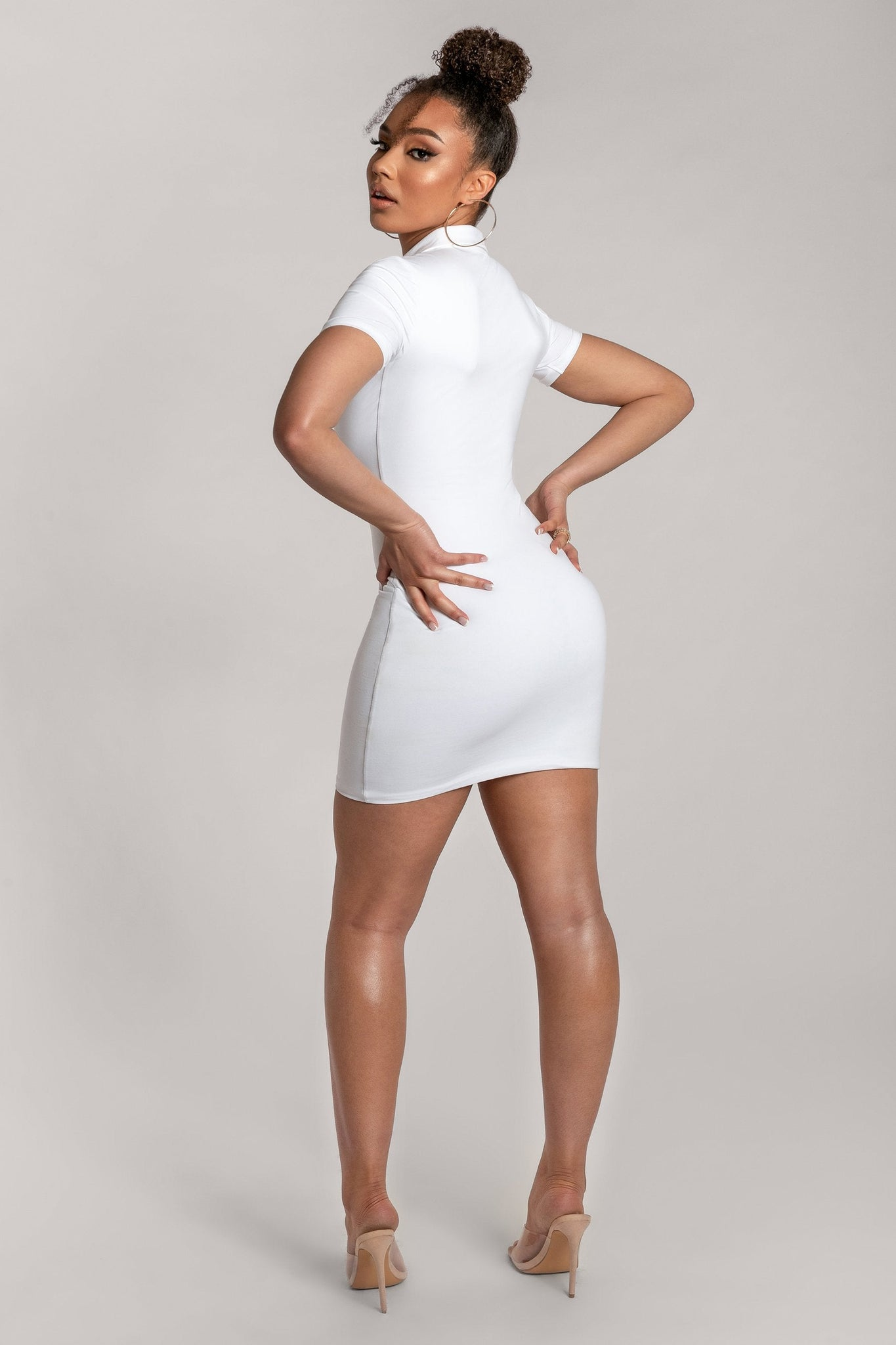 Monroe Collar Bodycon Dress - White - MESHKI