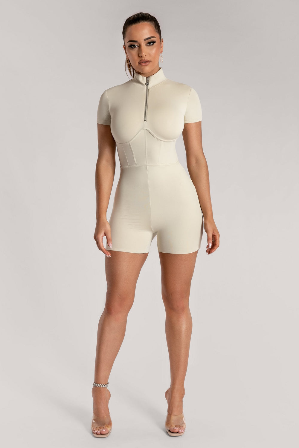 Zahiah Corsetted Short Sleeve Playsuit - Sand - MESHKI ?id=15950311161931