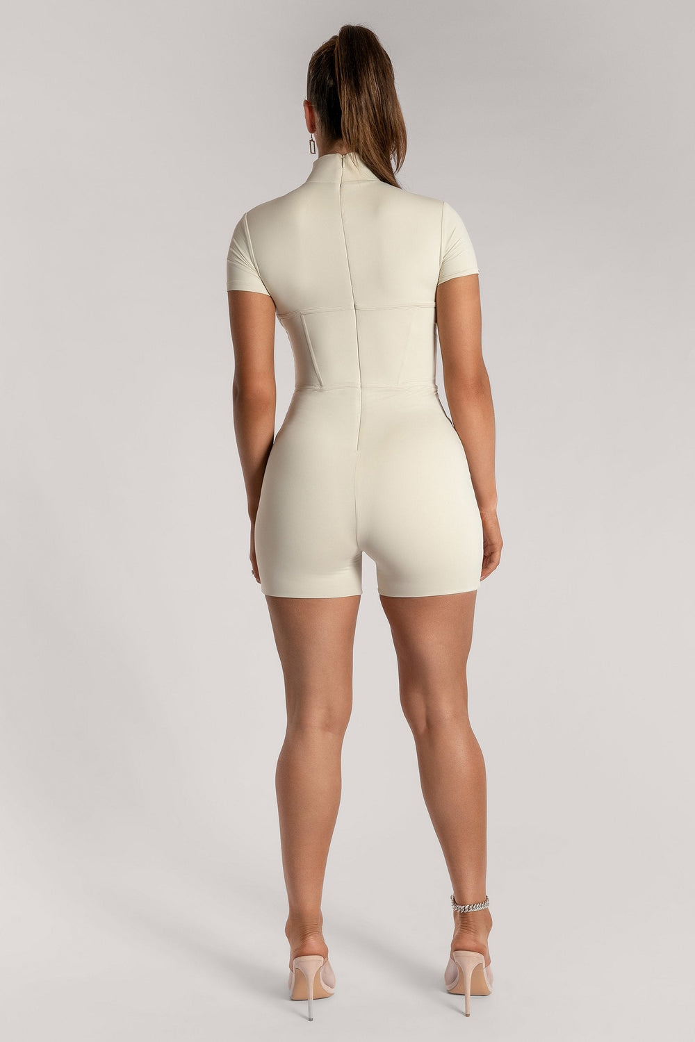 Zahiah Corsetted Short Sleeve Playsuit - Sand - MESHKI ?id=15950311293003