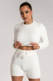 Charlotte Popcorn Long Sleeve Cut Out Back Crop Top - Cream - MESHKI ?id=15955344392267