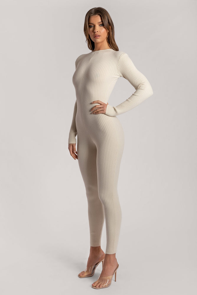 Levi Long Sleeve Fitted Jumpsuit - Sand - MESHKI