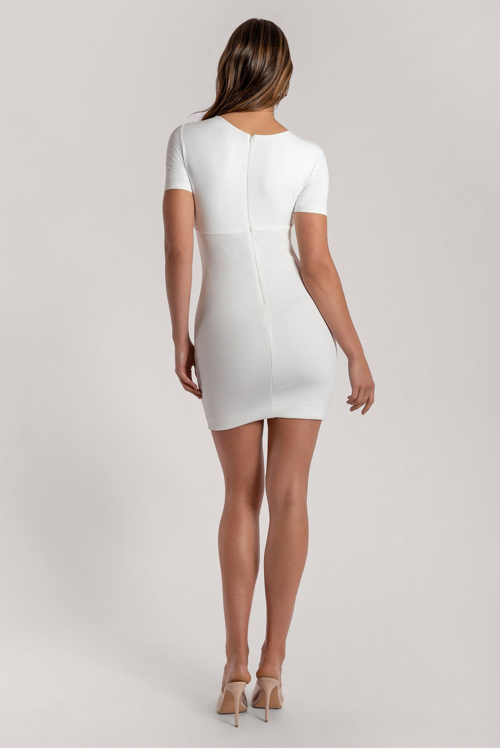 Kenzie Corsetted Waist Short Sleeve Mini Dress - White - MESHKI ?id=16000355401803