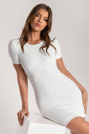Kenzie Corsetted Waist Short Sleeve Mini Dress - White - MESHKI ?id=16000355532875