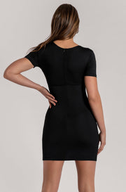 Kenzie Corsetted Waist Short Sleeve Mini Dress - Black - MESHKI ?id=16000360120395