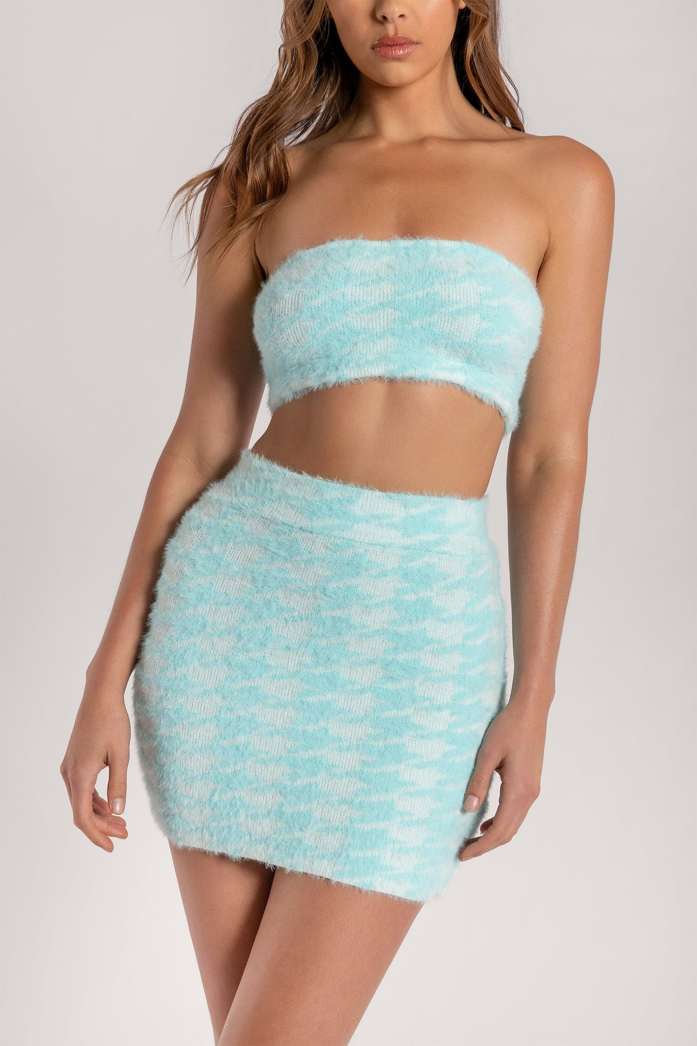 Cindie Fluffy Houndstooth Bandeau Top - Blue - MESHKI
