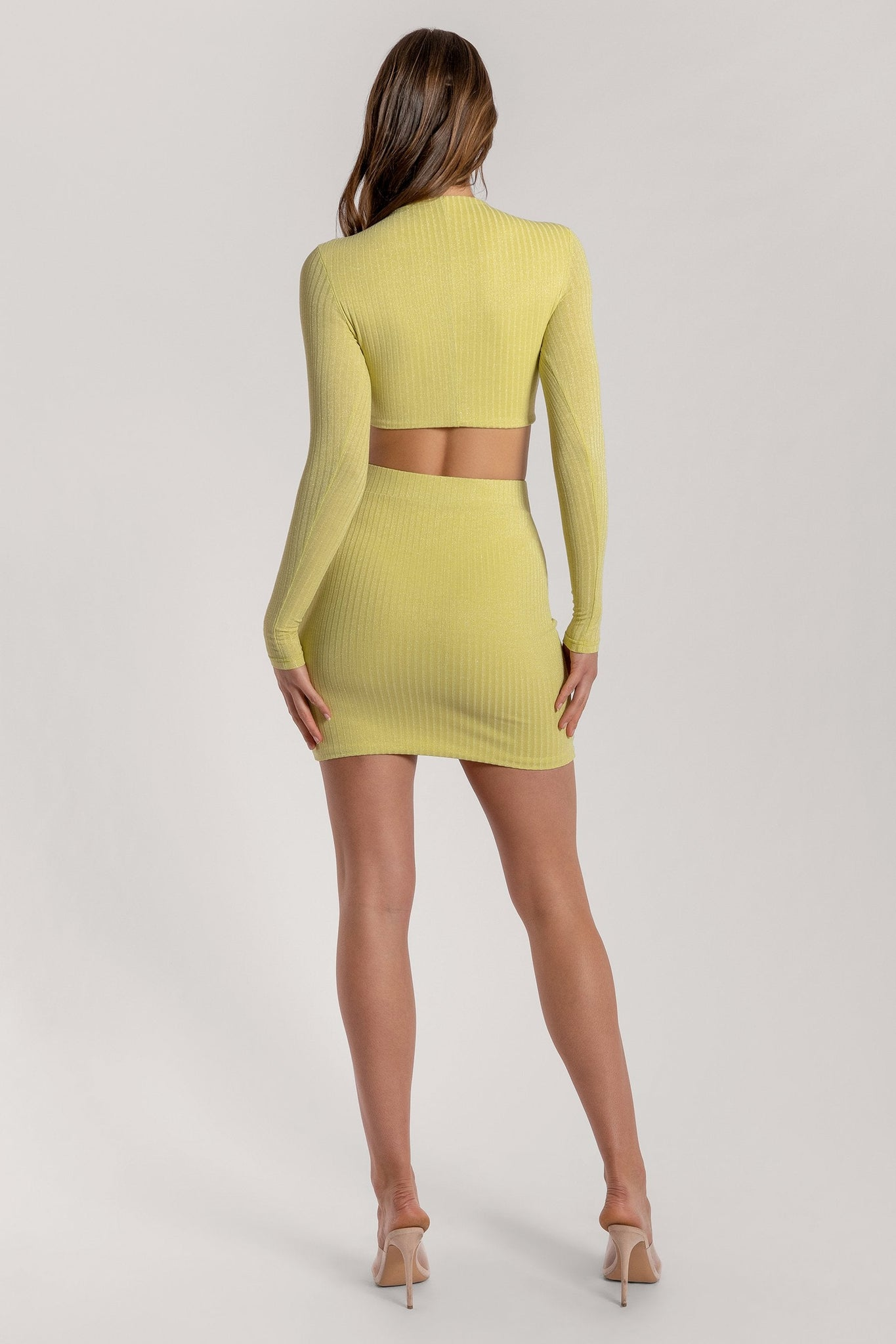 Iliana Shimmer Rib Mini Skirt - Lemon - MESHKI
