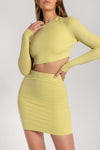 Iliana Shimmer Rib Mini Skirt - Lemon