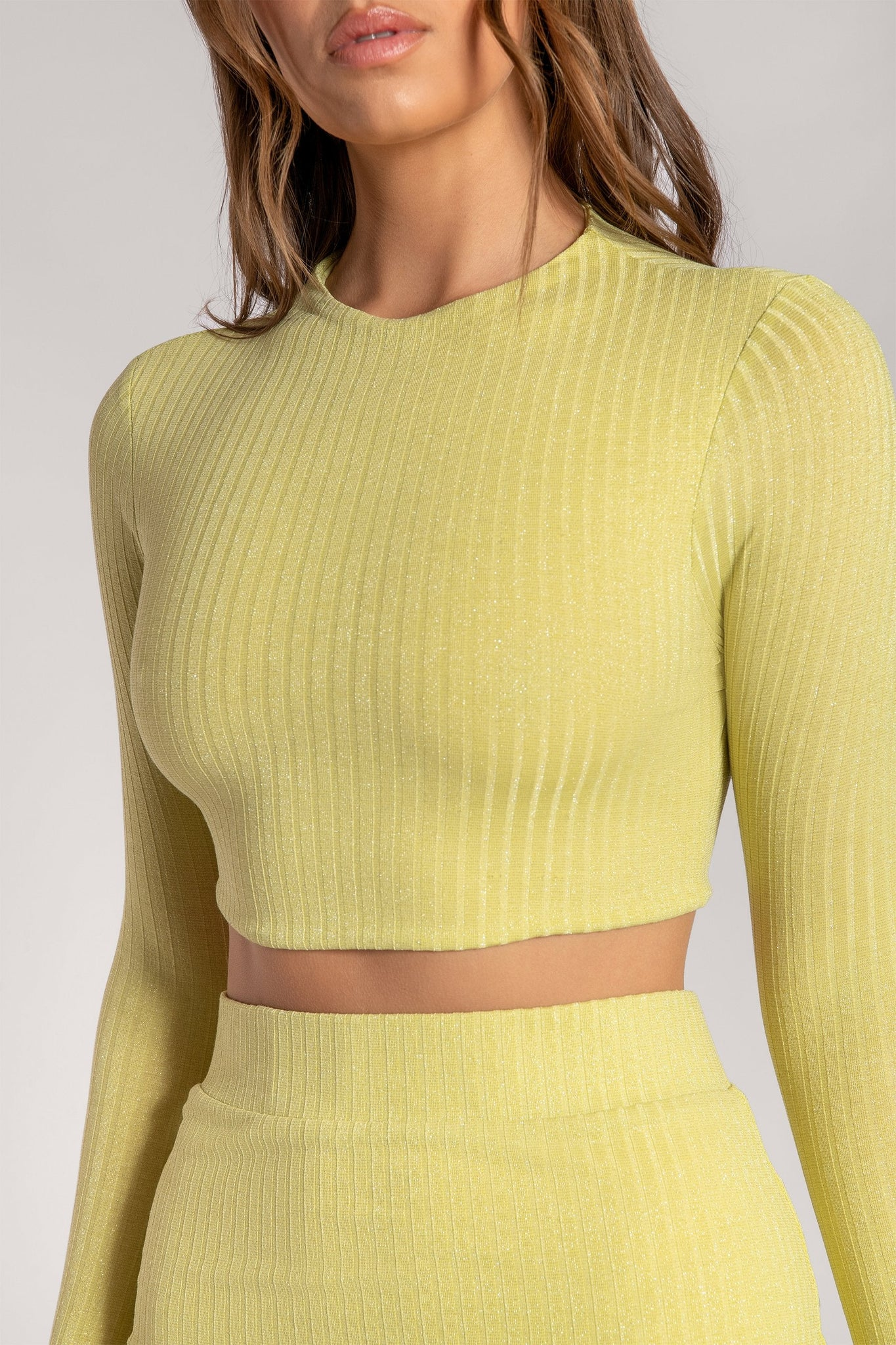 Iliana Shimmer Rib Long Sleeve Crop Top - Lemon - MESHKI