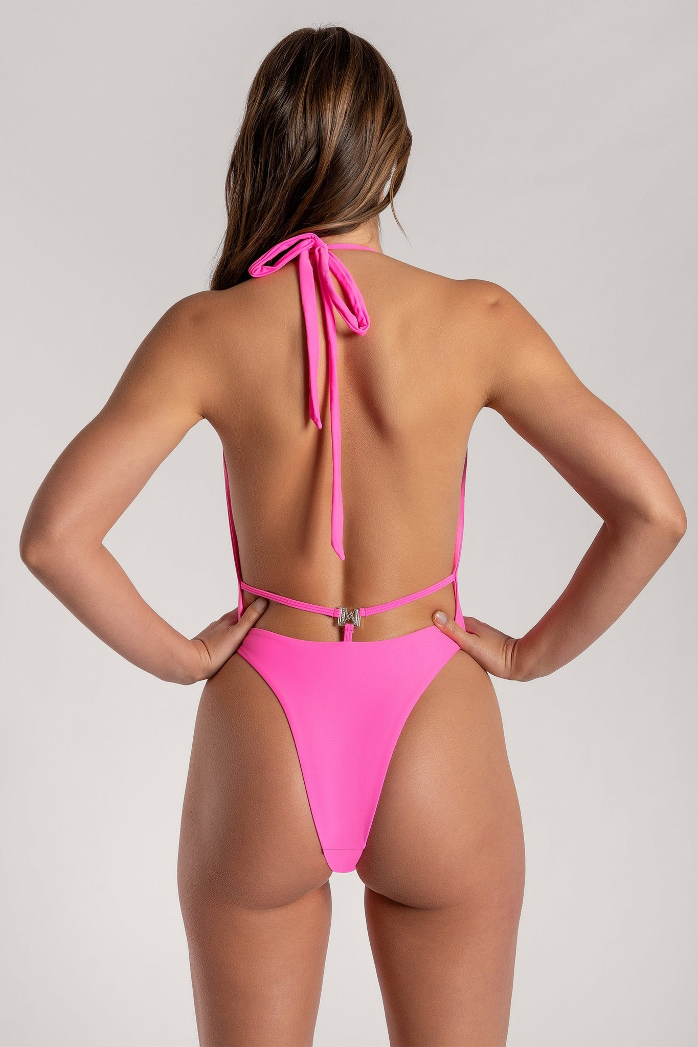 Veronica Low Back Meshki Logo One Piece - Pink - MESHKI