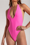 Veronica Low Back Meshki Logo One Piece - Pink