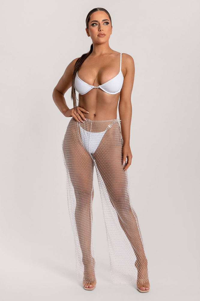 Shimmi Fishnet Diamante Wide Leg Pants - White - MESHKI