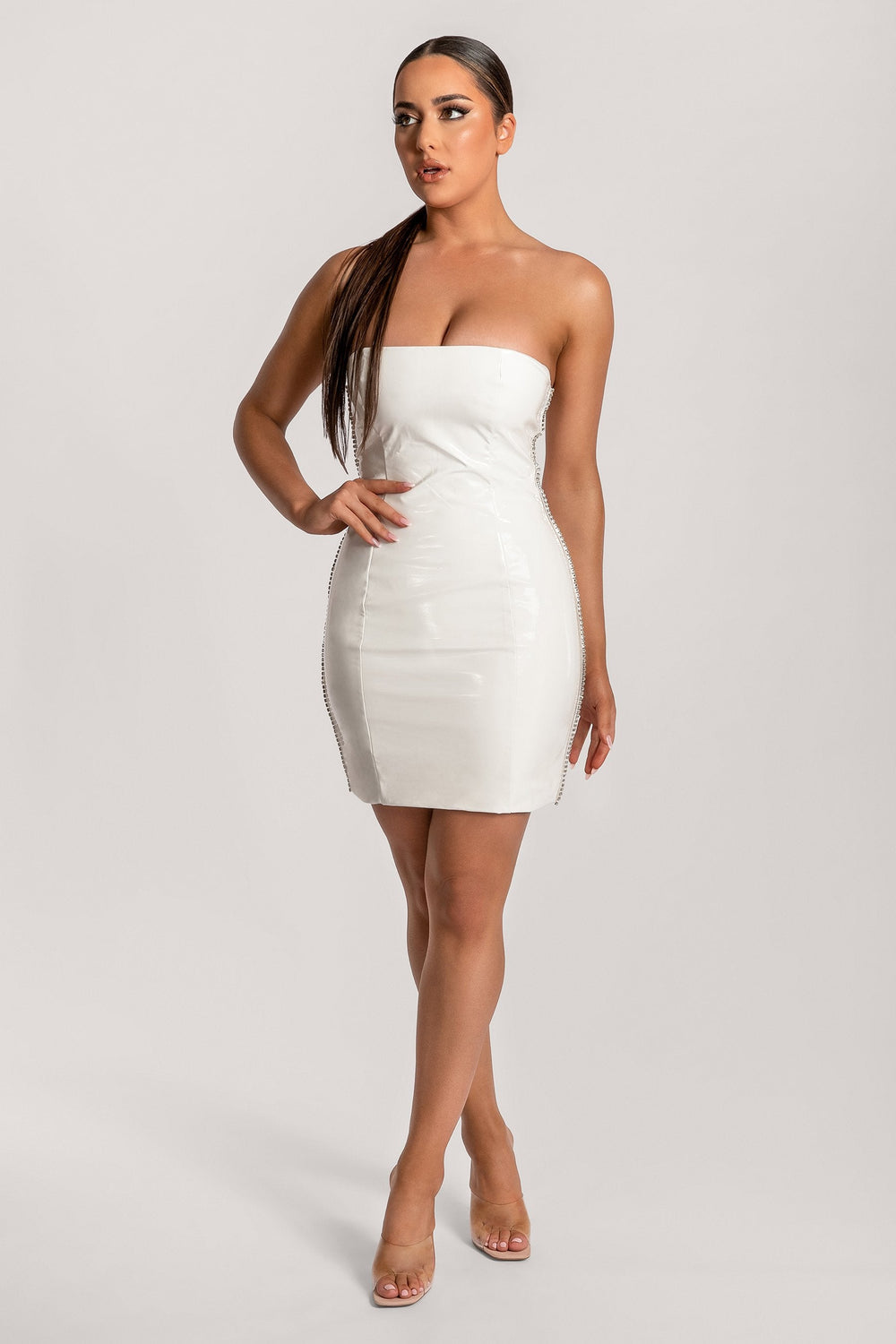 Liza Diamante Side Trim Latex Strapless Dress - White - MESHKI ?id=16030653612107