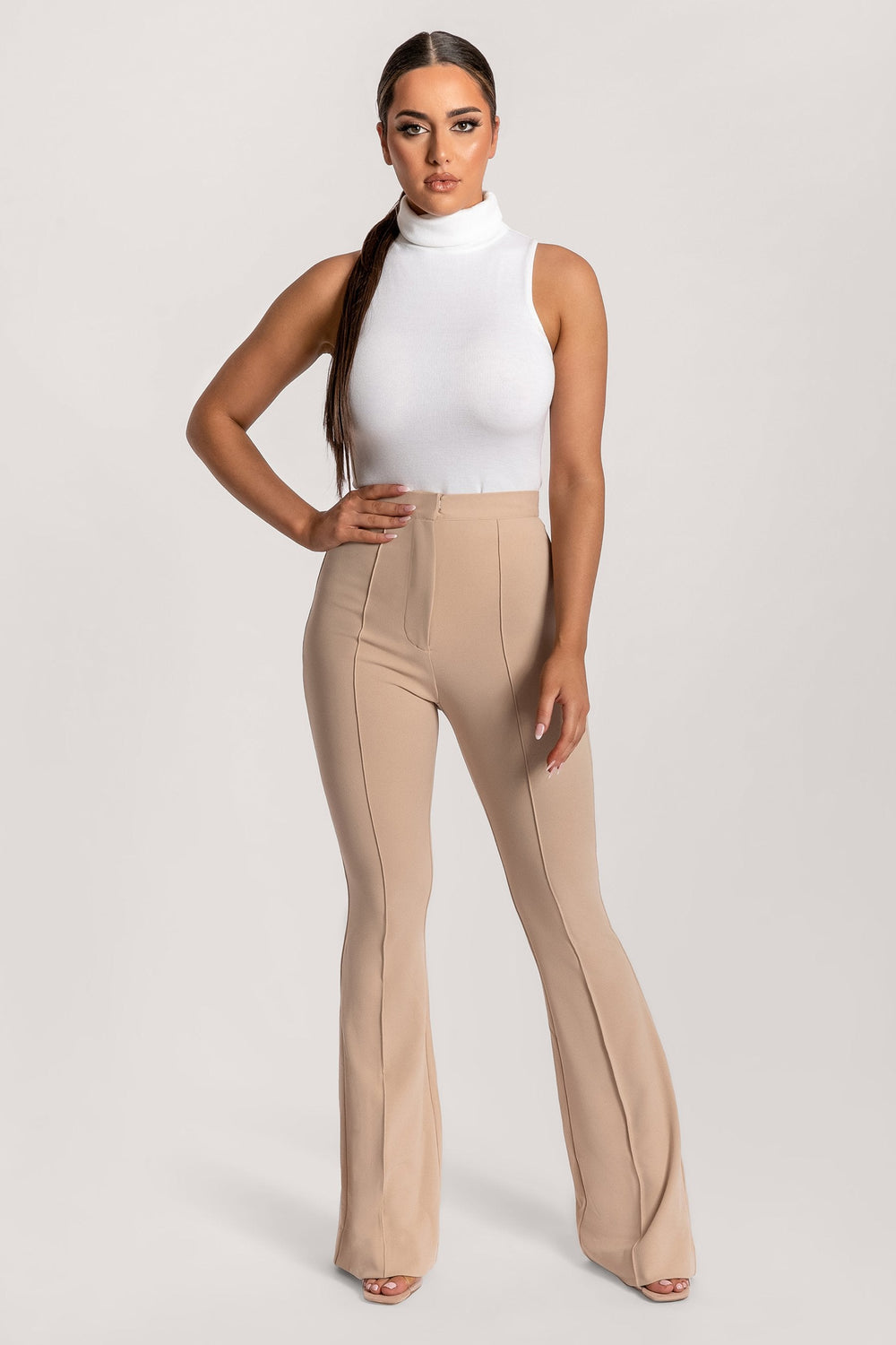 Zendaya Highwaisted Flare Pants - Nude - MESHKI ?id=16037054611531