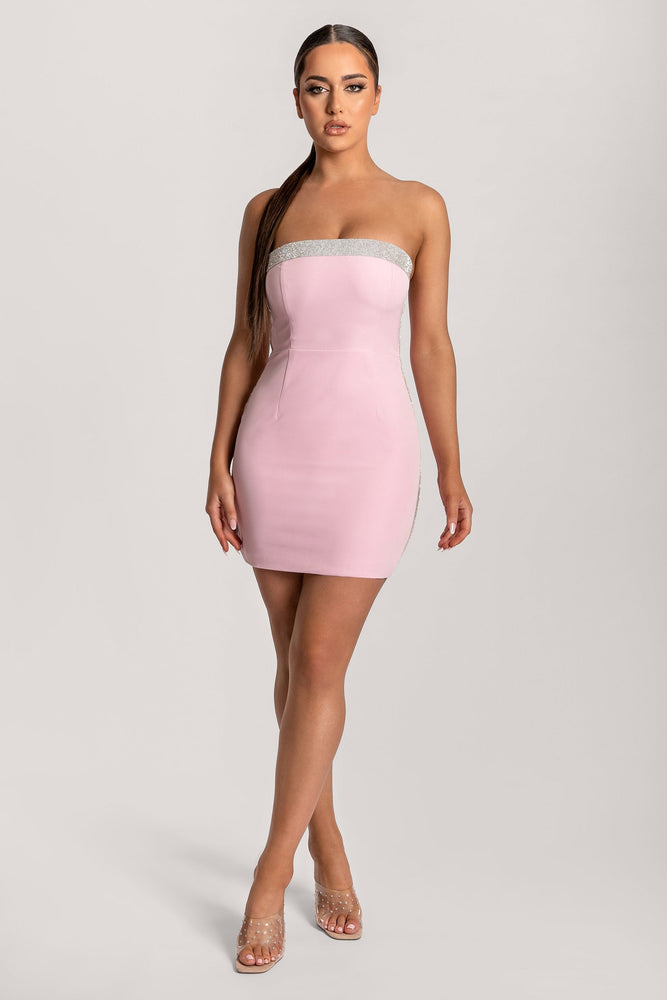 Amy Strapless Diamante Trim Mini Dress - Pink - MESHKI