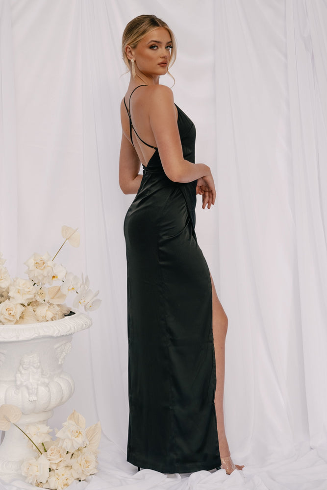 Evenia Strap Plunge Satin Maxi Dress - Black - MESHKI