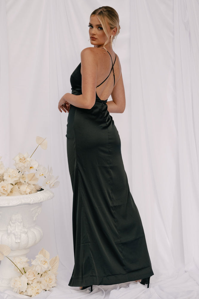 Evenia Strap Plunge Satin Maxi Dress - Black - MESHKI ?id=16050927829067