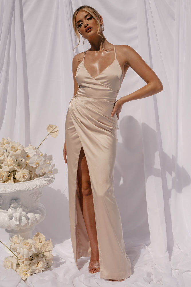 Evenia Strap Plunge Satin Maxi Dress - Champagne - MESHKI