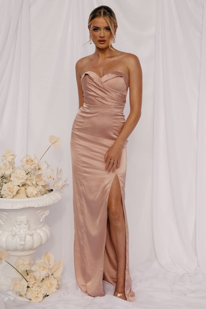 Jeannie Strapless Wrap Maxi Dress - Dusty Pink - MESHKI