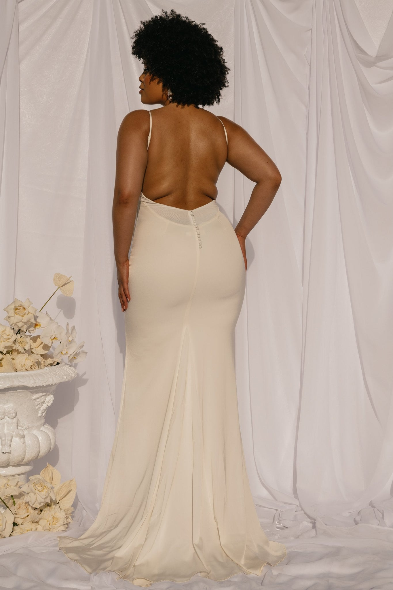 Shellin Low Back Wedding Dress - White
