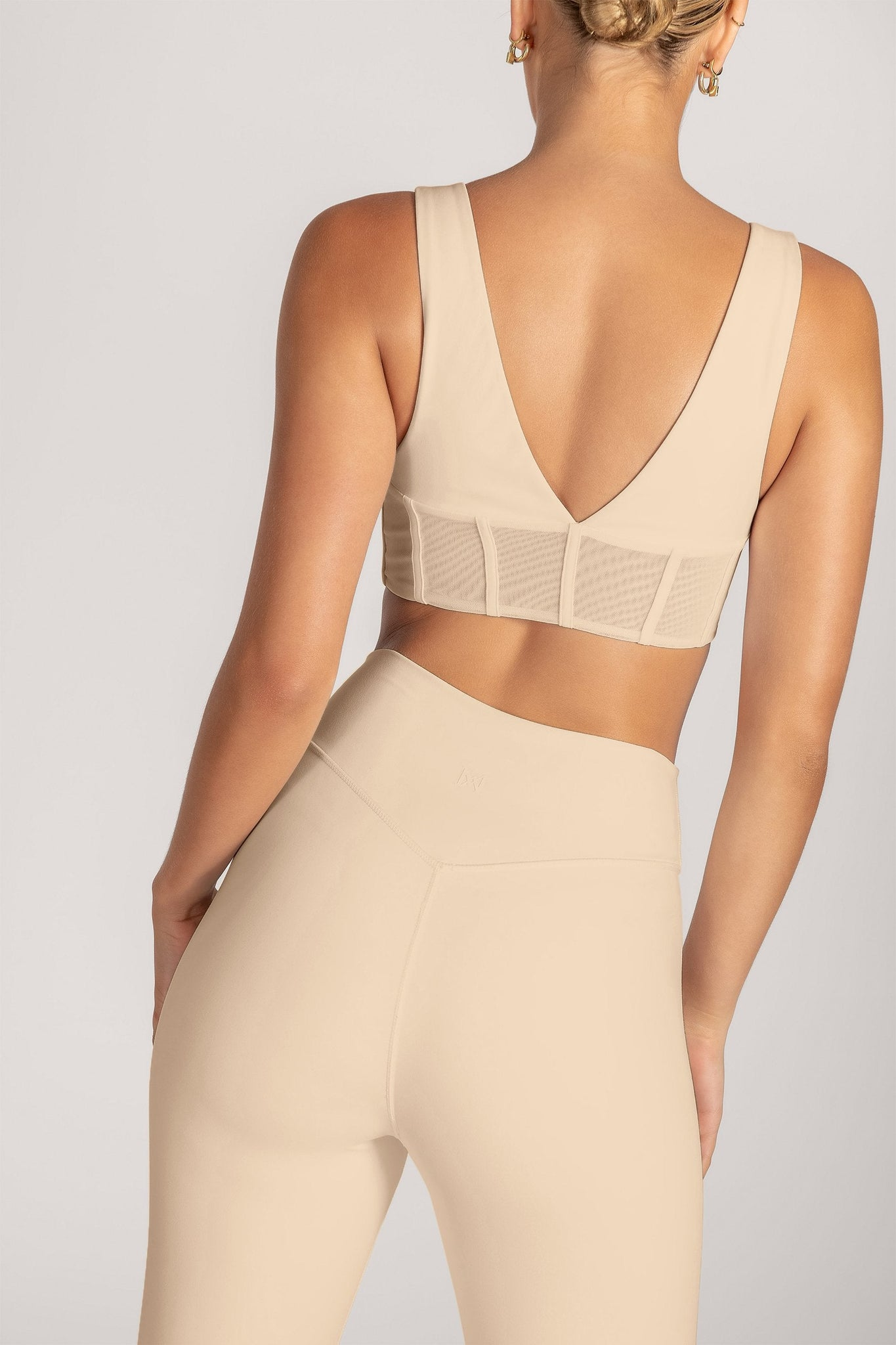 Dion Mesh Pannelled Crop Top - Nude - MESHKI