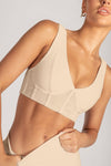 Dion Mesh Pannelled Crop Top - Chocolate