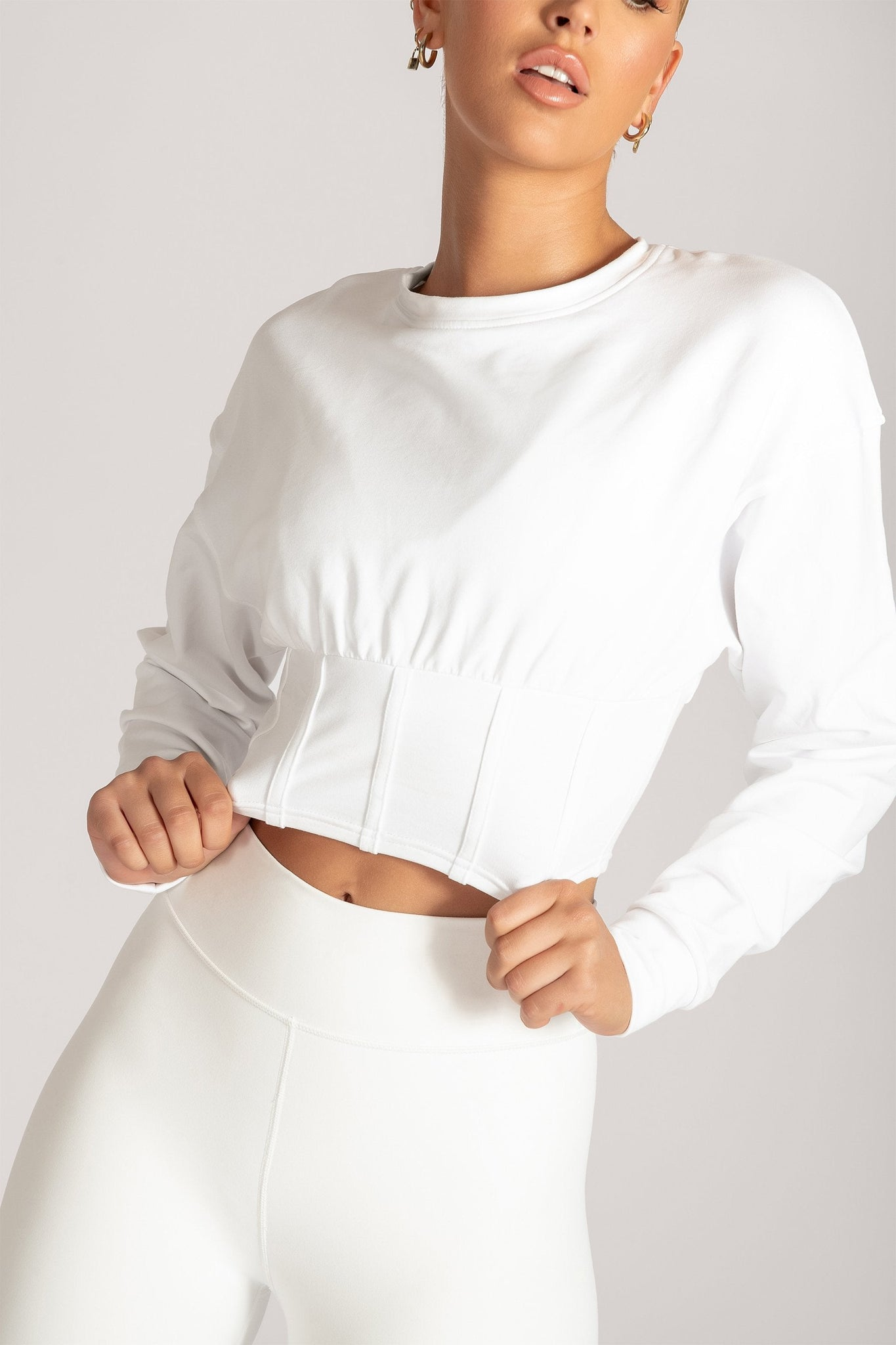 Hestia Panelled Cropped Jumper - White - MESHKI