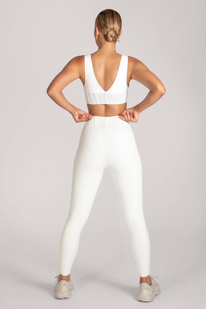 Ceres Corsetted Waist Leggings - White - MESHKI
