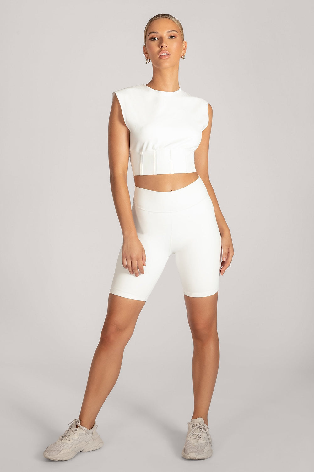 Hestia Panelled Sleeveless Crop Top - White - MESHKI ?id=16083116851275