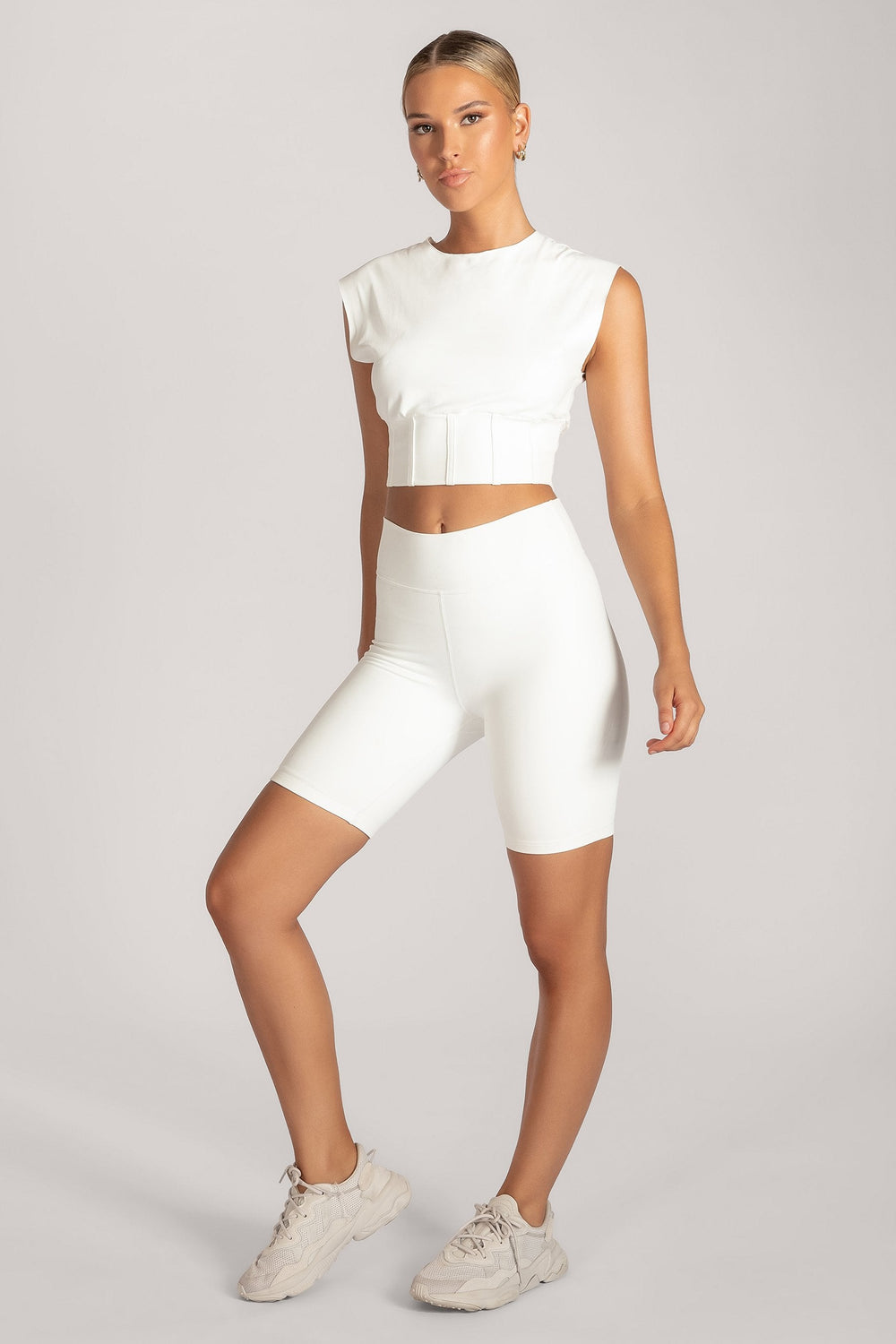 Hestia Panelled Sleeveless Crop Top - White - MESHKI ?id=16083117244491