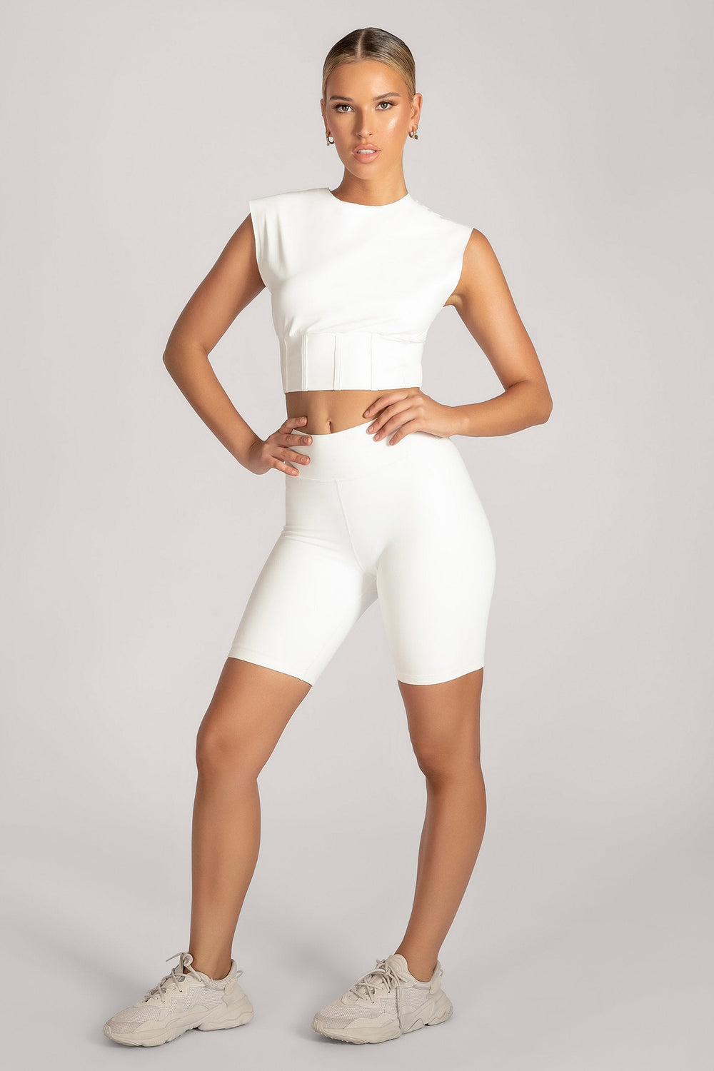 Hestia Panelled Sleeveless Crop Top - White - MESHKI ?id=16083116752971