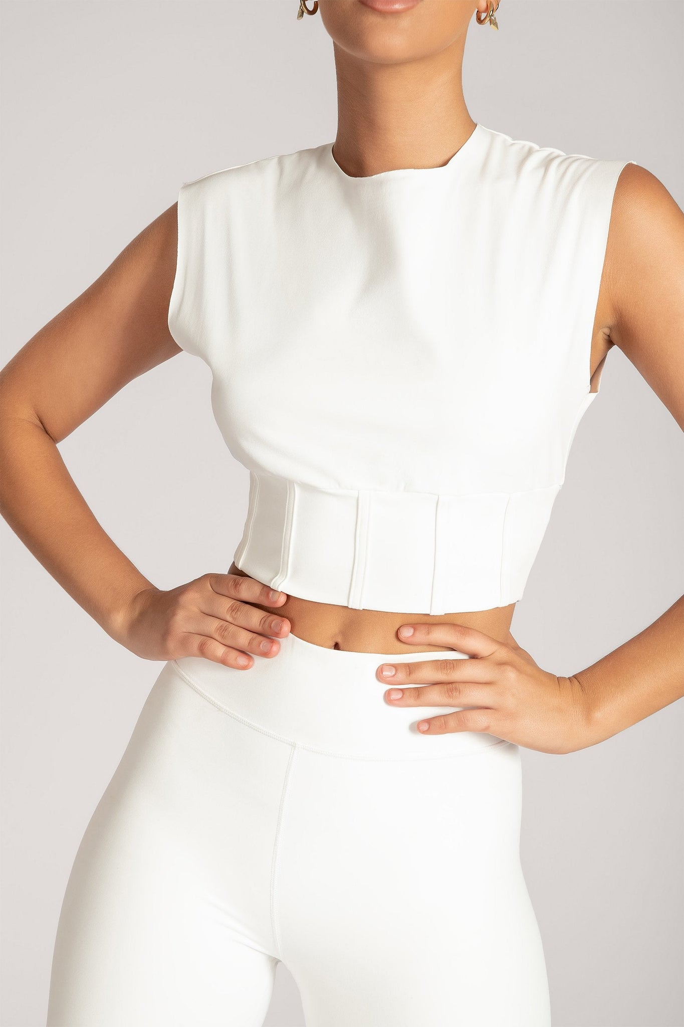 Hestia Panelled Sleeveless Crop Top - White - MESHKI