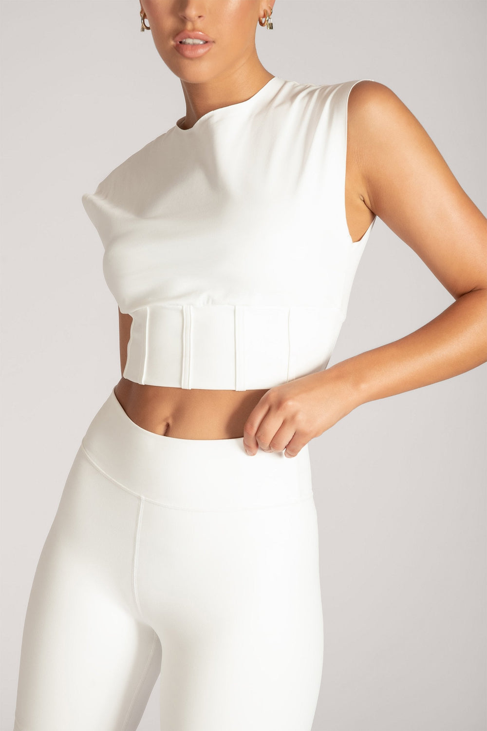 Hestia Panelled Sleeveless Crop Top - White - MESHKI ?id=16083117146187