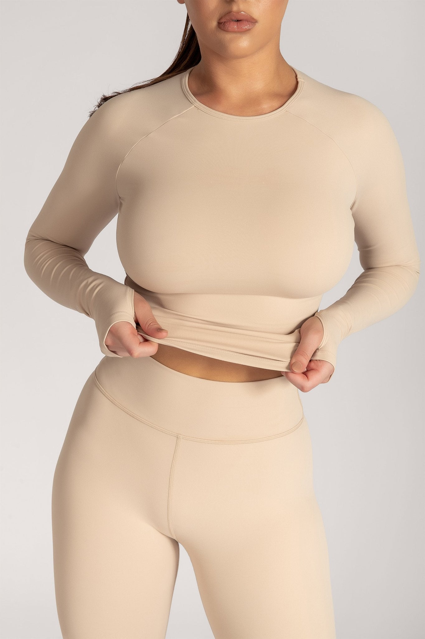 Venus Long Sleeve Crop Top - Nude - MESHKI