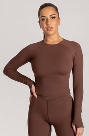 Venus Long Sleeve Crop Top - Chocolate - MESHKI ?id=16078523400267