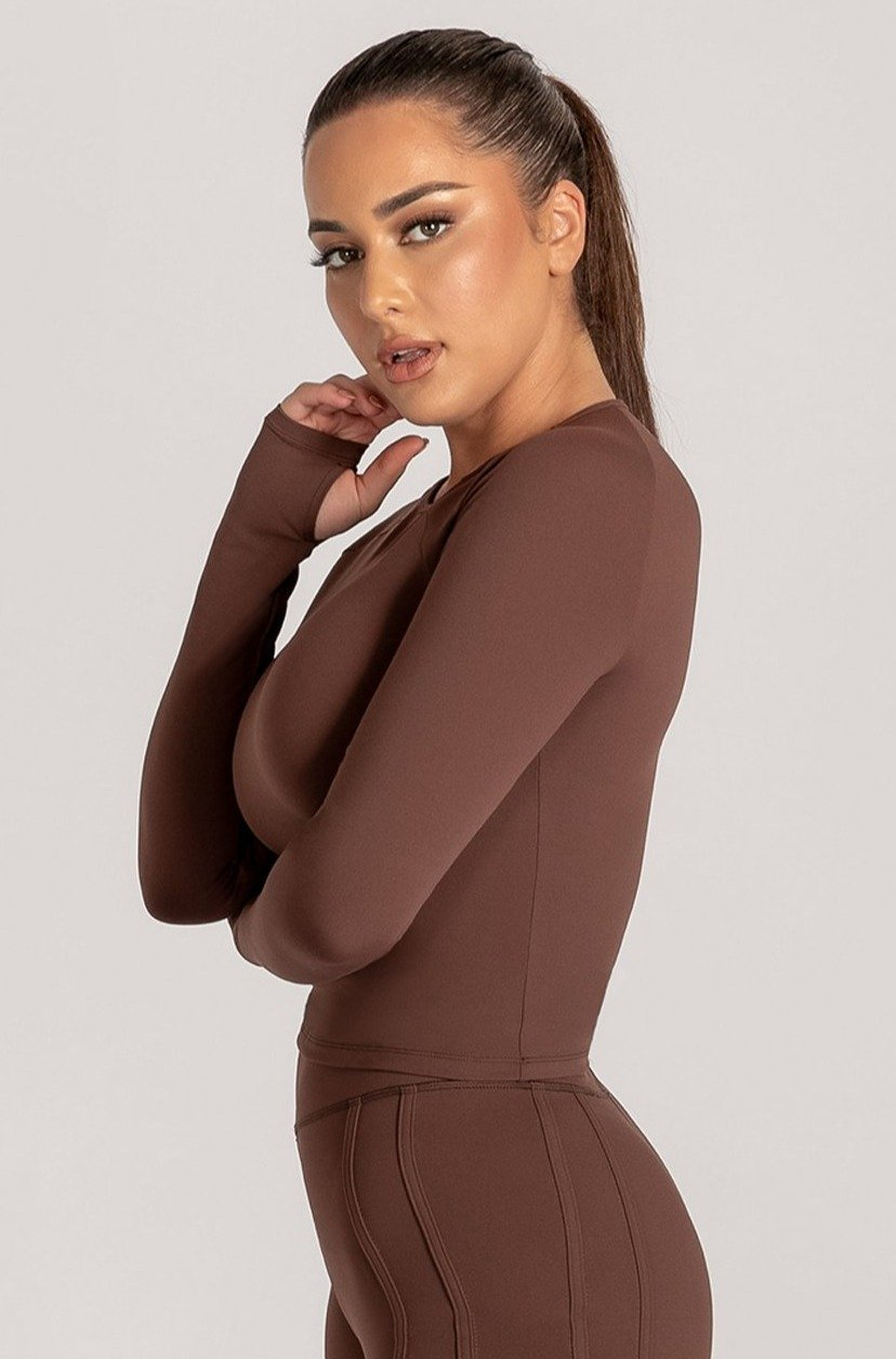 Venus Long Sleeve Crop Top - Chocolate - MESHKI ?id=16078523433035