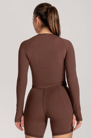 Venus Long Sleeve Crop Top - Chocolate - MESHKI ?id=16078523596875