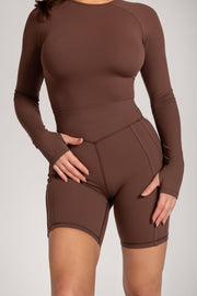 Venus Long Sleeve Crop Top - Chocolate - MESHKI ?id=16078523629643