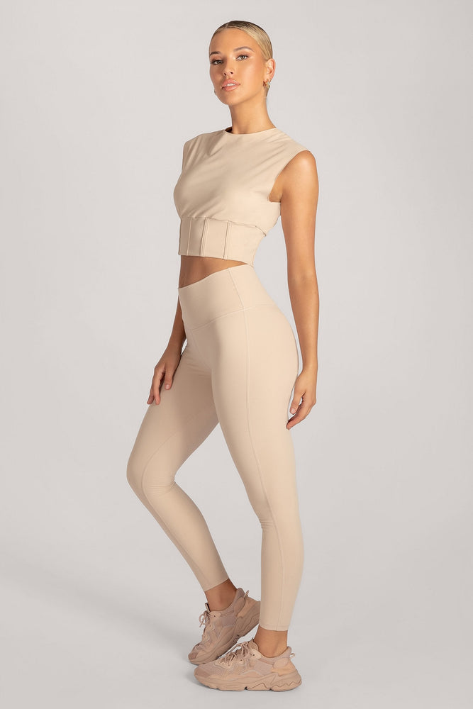 Hestia Panelled Sleeveless Crop Top - Nude - MESHKI