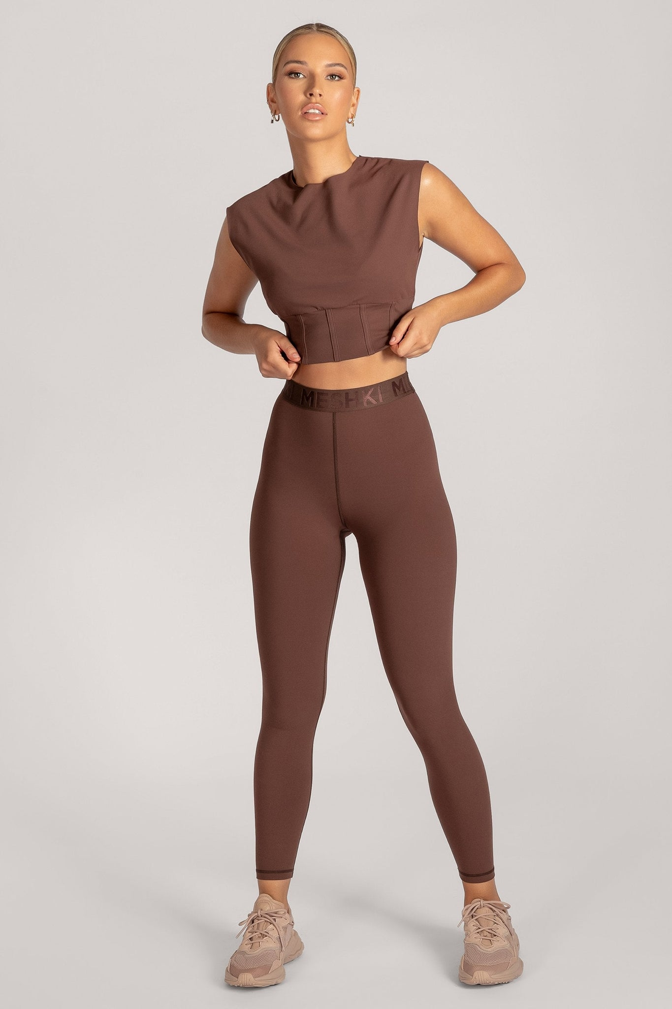 Hestia Panelled Sleeveless Crop Top - Chocolate - MESHKI