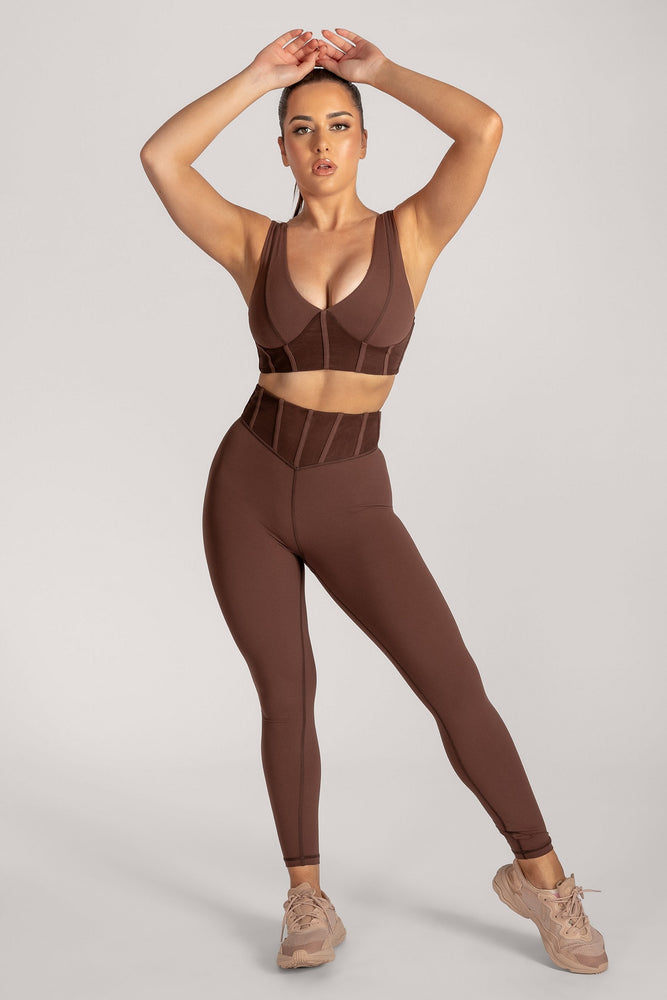 Dion Mesh Pannelled Crop Top - Chocolate - MESHKI