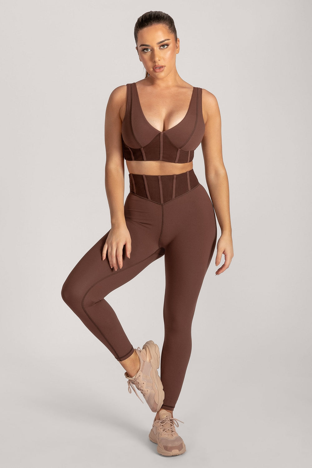 Dion Mesh Pannelled Crop Top - Chocolate - MESHKI ?id=16082842320971