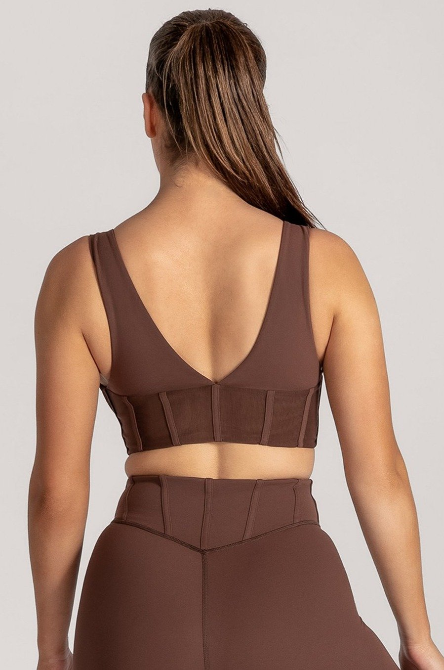 Dion Mesh Pannelled Crop Top - Chocolate - MESHKI ?id=16082842091595