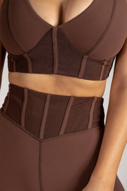 Dion Mesh Pannelled Crop Top - Chocolate - MESHKI ?id=16082842189899