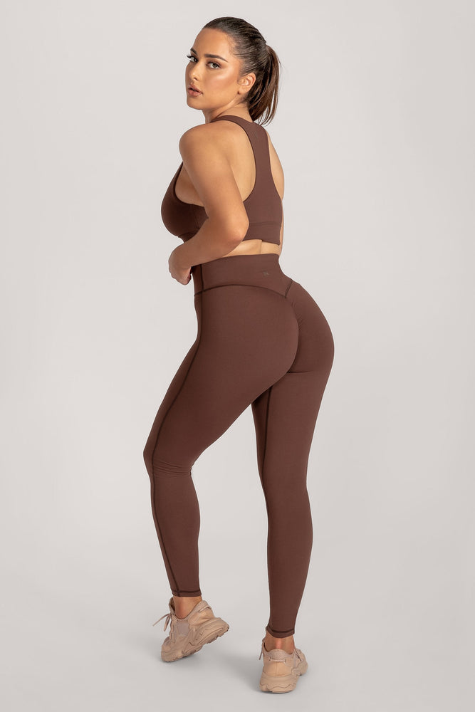 Selene Ruched Full Length Legging - Chocolate - MESHKI