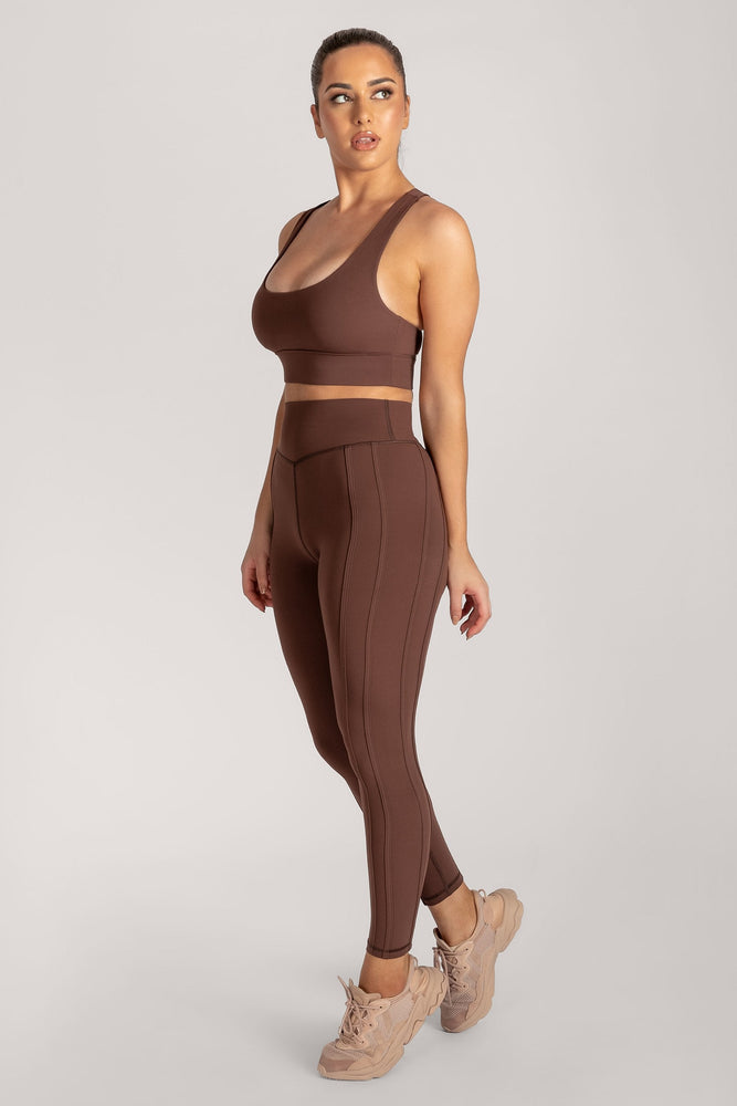 Hera Panelled Leggings - Chocolate - MESHKI