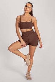 Asteria Thin Strap Crop Top - Chocolate - MESHKI ?id=16078475427915
