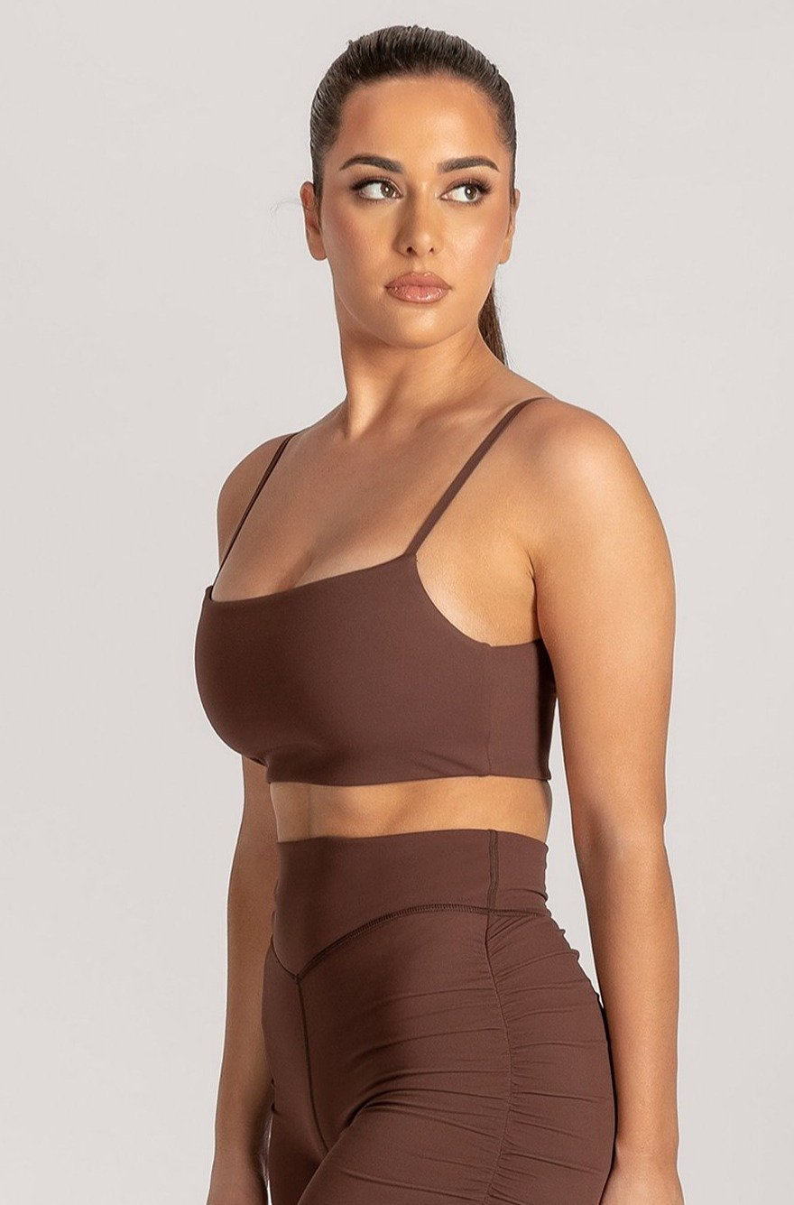Asteria Thin Strap Crop Top - Chocolate - MESHKI ?id=16078475460683